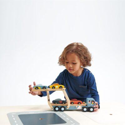 camion transport véhicule de course Tender leaf toys